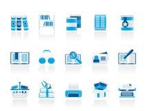 De Pictogrammen van de bibliotheek en van boeken Stock Foto