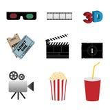 De pictogrammen van de bioskoop Stock Fotografie