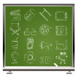 De pictogrammen van de bioskoop en van de Film Stock Afbeelding