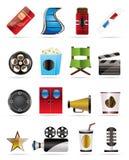 De pictogrammen van de bioskoop en van de Film Royalty-vrije Stock Afbeeldingen
