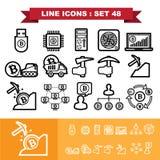 De pictogrammen van de Bitcoinlijn plaatsen 48 Royalty-vrije Stock Afbeelding