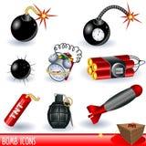 De pictogrammen van de bom Royalty-vrije Stock Foto