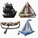 De pictogrammen van de boot Stock Foto's