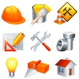 De pictogrammen van de bouw. Stock Afbeelding