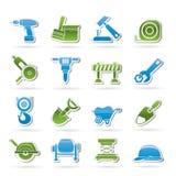 De pictogrammen van de bouw en van de bouw Stock Foto