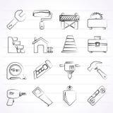 De pictogrammen van de bouw en van de bouw Stock Fotografie