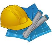 De pictogrammen van de bouw withblueprints en bouwvakker Stock Afbeelding