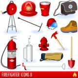 De pictogrammen van de brandbestrijder Stock Foto's