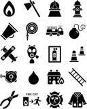 De pictogrammen van de brandweerman Stock Afbeelding