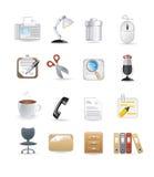 De pictogrammen van de bureaucomputer Stock Afbeeldingen