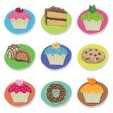 De pictogrammen van de cake Stock Foto's