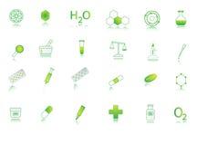 De pictogrammen van de chemie Stock Foto's