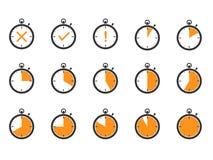 De pictogrammen van de chronometertijd Stock Foto's