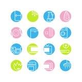 De pictogrammen van de cirkelhuishoudapparaten van de lente Stock Foto