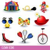 De pictogrammen van de clown Royalty-vrije Stock Afbeeldingen