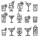 De pictogrammen van de cocktaillijn Royalty-vrije Stock Foto
