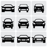 De pictogrammen van de compacte en luxepersonenauto (tekens) voor royalty-vrije illustratie