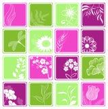 De pictogrammen van de computer met bloemen en takken Stock Illustratie