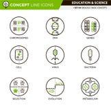 De Pictogrammen van de conceptenlijn plaatsen Biologie 4 vector illustratie