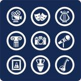 De pictogrammen van de cultuur en van de Kunst (plaats 12, deel 1) Stock Afbeeldingen