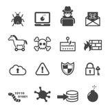 De pictogrammen van de Cybermisdaad Stock Afbeeldingen
