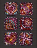 De pictogrammen van de dagharten van Hand-Drawn decoratief Valentine Stock Foto's