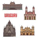 De pictogrammen van de de architectuurtoeristische attractie van Uruguay Stock Foto