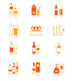 De pictogrammen van de de flessen rood-sinaasappel van de drank Stock Fotografie