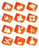 De pictogrammen van de de klemkunst van Kerstmis Royalty-vrije Stock Foto's
