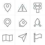 De pictogrammen van de de Stijlkaart van lijnpictogrammen op witte achtergrond Royalty-vrije Stock Foto