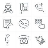 De pictogrammen van de de Stijltelefoon van lijnpictogrammen Royalty-vrije Stock Fotografie