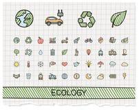 De pictogrammen van de de tekeningslijn van de ecologiehand vector illustratie