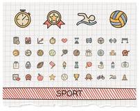 De pictogrammen van de de tekeningslijn van de sporthand Royalty-vrije Stock Afbeelding