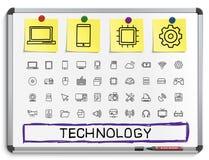 De pictogrammen van de de tekeningslijn van de technologiehand royalty-vrije illustratie