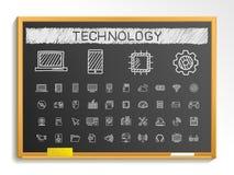 De pictogrammen van de de tekeningslijn van de technologiehand het tekenillustratie van de krijtschets op bord stock illustratie