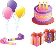 De pictogrammen van de de verjaardagspartij van het meisje Stock Foto