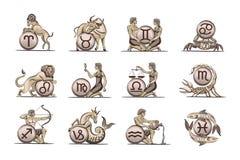 De pictogrammen van de dierenriem. Stock Afbeelding