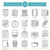 De Pictogrammen van de documentenlijn Stock Illustratie
