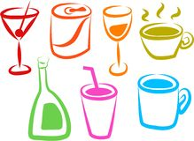 De Pictogrammen van de drank Stock Fotografie
