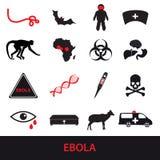 De pictogrammen van de Ebolaziekte geplaatst eps10 Royalty-vrije Stock Afbeelding