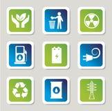 De pictogrammen van de Ecoenergie Stock Foto's