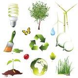 De pictogrammen van de ecologie Stock Afbeeldingen