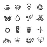 De pictogrammen van de ecologie en van het milieu Stock Foto