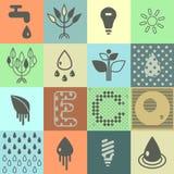 De pictogrammen van de ecologie Reeks 01 Stock Afbeelding