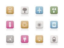 De pictogrammen van de ecologie, van de energie en van de aard stock illustratie