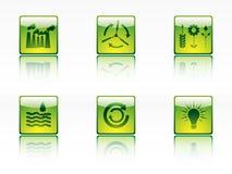 De pictogrammen van de ecologie, van de macht en van de energie Stock Fotografie