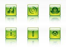 De pictogrammen van de ecologie, van de macht en van de energie Stock Foto