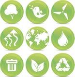 De pictogrammen van de ecologie in vector Stock Foto's