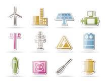 De pictogrammen van de elektriciteit en van de macht Stock Afbeeldingen