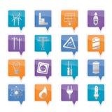 De pictogrammen van de elektriciteit, van de macht en van de energie Stock Fotografie
